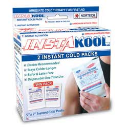 """InstaKool Instant Ice Pack, Size: 5"""" x 7"""" - JUNIOR (RETAIL BOX - TWIN Pack)"""